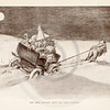Vintage 1900s Sepia Gibson Girl Illustration of Man Pulling a Sled from THE GIBSON BOOK by Charles Gibson.  The natural patina, age-toning, imperfections, and old paper antiquing of this vintage 20th century illustration are preserved in this image.