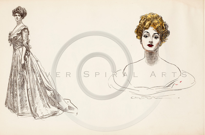 Vintage 1900s Color Gibson Girl Illustration from THE GIBSON BOOK by Charles Gibson.  The natural patina, age-toning, imperfections, and old paper antiquing of this vintage 20th century illustration are preserved in this image.