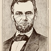 Vintage illustration of Abraham Lincoln Portrait, c1800s.  The natural age-toning, paper stains, and antique printing imperfections are preserved in this 1800s vintage stock image.