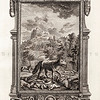 Vintage 1700s Black and White Rococo Copper Engraving Illustration of Wild Animals with Decorative Frame from PHYSICA SACRA by Johan Jacob Scheuchzer.  The natural patina, age-toning, imperfections, and old paper antiquing of this vintage 18th century illustration are preserved in this image.