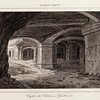 Vintage 1800s Sepia Engraving Architecture Illustration of a Castle Crypt from FRANCE, DICTIONNAIRE ENCYCLOPEDIQUE by M. Le Bas, published in Paris.  The natural patina, age-toning, imperfections, and old paper antiquing of this vintage 19th century illustration are preserved in this image.