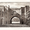 Vintage 1800s Photo-Etching Illustration of St. John's Gate from MEMOIRS OF THE COURT OF ENGLAND by Jesse Heneage.  The natural patina, age-toning, imperfections, and old paper antiquing of this vintage 19th century illustration are preserved in this image.