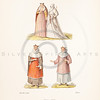 Vintage illustration of costumes by Hefner, 1889.  Antique digital download of old print - dress, skirt, robes, men, women, male, female, man, woman, clothing, color, costume, medieval.  The natural age-toning, paper stains, and antique printing imperfections are preserved in this 1800s stock image.