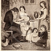 Vintage 1800s Sepia Fashion Illustration of Victorian Family with Children - GODEY'S & PETERSON'S LADY'S MAGAZINES.