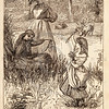 Vintage 1800s Sepia Fashion Illustration of Victorian Women and Children - GODEY'S & PETERSON'S LADY'S MAGAZINES.