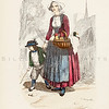 Vintage 1800s Color Illustration of French Costumes - LA BRETAGNE MODERNE by J. Johannot.