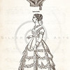 Vintage 1800s Sepia Illustration of Victorian women's dress fashion - GODEY'S & PETERSON'S LADY'S MAGAZINES.