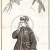 Vintage 1800s Sepia Victorian Illustration of Women's Head-Dress Fashions - GODEY'S & PETERSON'S LADY'S MAGAZINES.