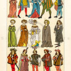 Vintage illustration of Medieval Characters in Costumes from LE COSTUME, LES ARMES, USTENSILES by F. Hottenroth, Paris c1900.  The natural age-toning, paper stains, and antique printing imperfections are preserved in this 1900s vintage stock image.