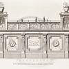 Vintage 1800s Sepia Illustration of Ornamental Decorative Bar from GEWERBEHALLE by Willhelm Baumer.  The natural patina, age-toning, imperfections, and old paper antiquing of this vintage 19th century illustration are preserved in this image.
