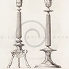 Vintage 1800s Sepia Illustration of Ornamental Decorative Objects from GEWERBEHALLE by Willhelm Baumer.  The natural patina, age-toning, imperfections, and old paper antiquing of this vintage 19th century illustration are preserved in this image.