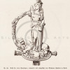Vintage 1800s Sepia Illustration of Ornamental Decorative Statue of Woman from GEWERBEHALLE by Willhelm Baumer.  The natural patina, age-toning, imperfections, and old paper antiquing of this vintage 19th century illustration are preserved in this image.