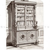 Vintage 1800s Sepia Illustration of Bookcase - GEWERBEHALLE ORGAN FUR DEN FORTSCHRITT by Gewerbehalle, published in Germany.