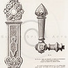 Vintage 1800s Sepia Illustration of Ornamental Decorative Handles from GEWERBEHALLE by Willhelm Baumer.  The natural patina, age-toning, imperfections, and old paper antiquing of this vintage 19th century illustration are preserved in this image.