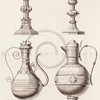 Vintage 1800s Sepia Illustration of Ornamental Decorative Goblets and Pitchers from GEWERBEHALLE by Willhelm Baumer.  The natural patina, age-toning, imperfections, and old paper antiquing of this vintage 19th century illustration are preserved in this image.