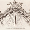Vintage 1800s Sepia Illustration of Ornamental Decorative Furniture and Curtains from GEWERBEHALLE by Willhelm Baumer.  The natural patina, age-toning, imperfections, and old paper antiquing of this vintage 19th century illustration are preserved in this image.