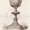 Vintage 1800s Sepia Illustration of Ornamental Decorative Goblet from GEWERBEHALLE by Willhelm Baumer.  The natural patina, age-toning, imperfections, and old paper antiquing of this vintage 19th century illustration are preserved in this image.