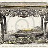 Vintage 1800s Color Illustration of an Ornate Wooden Table from HISTOIRE DU MOBILIER by Albert Jacquemart.  The natural patina, age-toning, imperfections, and old paper antiquing of this vintage 19th century illustration are preserved in this image.