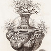 Vintage 1800s Sepia Illustration of Ornamental Decorative Potted Plant from GEWERBEHALLE by Willhelm Baumer.  The natural patina, age-toning, imperfections, and old paper antiquing of this vintage 19th century illustration are preserved in this image.