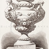 Vintage 1800s Sepia Illustration of Ornamental Decorative Vases from GEWERBEHALLE by Willhelm Baumer.  The natural patina, age-toning, imperfections, and old paper antiquing of this vintage 19th century illustration are preserved in this image.