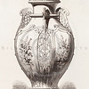 Vintage 1800s Sepia Illustration of Ornamental Decorative Vase from GEWERBEHALLE by Willhelm Baumer.  The natural patina, age-toning, imperfections, and old paper antiquing of this vintage 19th century illustration are preserved in this image.