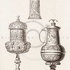 Vintage 1800s Sepia Illustration of Ornamental Decorative Lanterns from GEWERBEHALLE by Willhelm Baumer.  The natural patina, age-toning, imperfections, and old paper antiquing of this vintage 19th century illustration are preserved in this image.