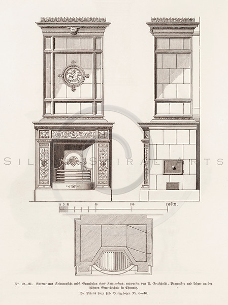 Vintage 1800s Sepia Illustration of Ornamental Decorative Firepl