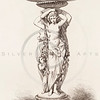 Vintage 1800s Sepia Illustration of Ornamental Decorative Fountain with Statues from GEWERBEHALLE by Willhelm Baumer.  The natural patina, age-toning, imperfections, and old paper antiquing of this vintage 19th century illustration are preserved in this image.