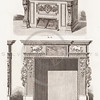 Vintage 1800s Sepia Illustration of Ornamental Decorative Fireplace and Mantel from GEWERBEHALLE by Willhelm Baumer.  The natural patina, age-toning, imperfections, and old paper antiquing of this vintage 19th century illustration are preserved in this image.