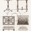 Vintage 1800s Sepia Illustration of Ornamental Decorative Desk from GEWERBEHALLE by Willhelm Baumer.  The natural patina, age-toning, imperfections, and old paper antiquing of this vintage 19th century illustration are preserved in this image.
