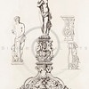 Vintage 1800s Sepia Illustration of Ornamental Decorative Statue from GEWERBEHALLE by Willhelm Baumer.  The natural patina, age-toning, imperfections, and old paper antiquing of this vintage 19th century illustration are preserved in this image.