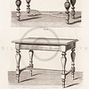 Vintage 1800s Sepia Illustration of Ornamental Decorative Desks from GEWERBEHALLE by Willhelm Baumer.  The natural patina, age-toning, imperfections, and old paper antiquing of this vintage 19th century illustration are preserved in this image.