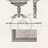 Vintage 1800s Sepia Illustration of Ornamental Decorative Table from GEWERBEHALLE by Willhelm Baumer.  The natural patina, age-toning, imperfections, and old paper antiquing of this vintage 19th century illustration are preserved in this image.