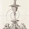 Vintage 1800s Sepia Illustration of Ornamental Decorative Household Object from GEWERBEHALLE by Willhelm Baumer.  The natural patina, age-toning, imperfections, and old paper antiquing of this vintage 19th century illustration are preserved in this image.