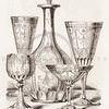 Vintage 1800s Sepia Illustration of Ornamental Decorative Cups from GEWERBEHALLE by Willhelm Baumer.  The natural patina, age-toning, imperfections, and old paper antiquing of this vintage 19th century illustration are preserved in this image.