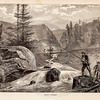 Vintage 1800s Illustration of a Trout Fishing Scene.