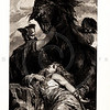 Vintage 1800s Sepia Illustration of the Death of Brunhilde - A PICTORIAL HISTORY OF THE WORLD'S GREATEST NATION by Charlotte Yonge.