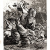 Vintage 1800s Black & White Illustration of Warriors - A PICTORIAL HISTORY OF THE WORLD'S GREATEST NATION by Charlotte Yonge.