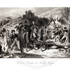 Vintage 1800s Black & White Illustration of the Military Winter Camp at Valley Forge - A PICTORIAL HISTORY OF THE WORLD'S GREATEST NATION by Charlotte Yonge.