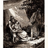 Vintage 1800s Sepia Illustration of Iphigenia Pleading with Agamemnon - A PICTORIAL HISTORY OF THE WORLD'S GREATEST NATION by Charlotte Yonge.