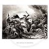 Vintage 1800s Black & White Illustration of The Battle of Hastings - A PICTORIAL HISTORY OF THE WORLD'S GREATEST NATION by Charlotte Yonge.