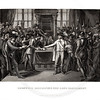 Vintage 1800s Black & White Illustration of Parliament Argument - A PICTORIAL HISTORY OF THE WORLD'S GREATEST NATION by Charlotte Yonge.