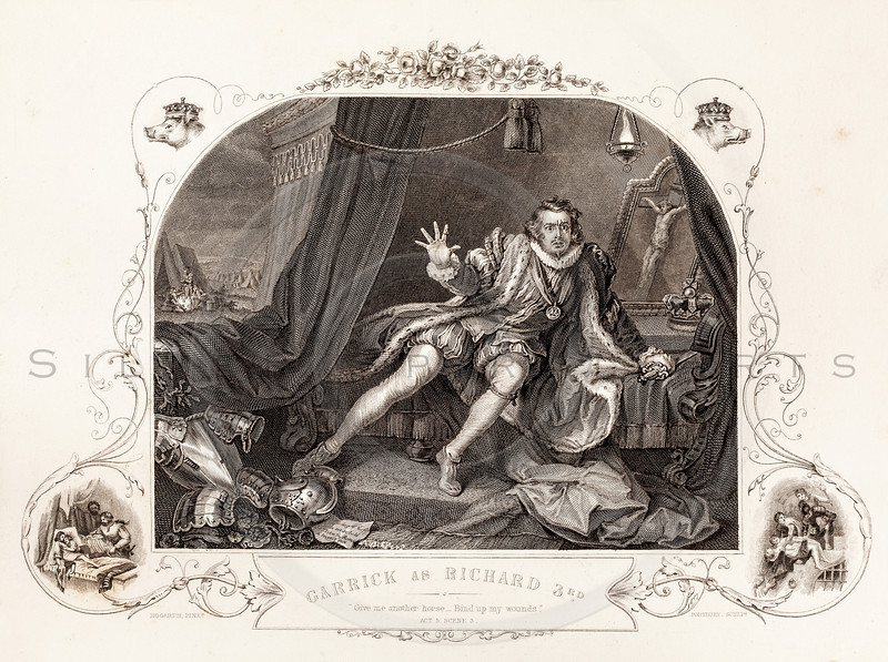 Vintage illustration of Richard III from Shakespeare by Kenny Meadows, 1845.  Antique digital download of old print - play, character, costume, Richard, Richard III, Richard the 3rd, shakespeare, people, scene, literature.  The natural age-toning, paper stains, and antique printing imperfections are preserved in this 1800s stock image.