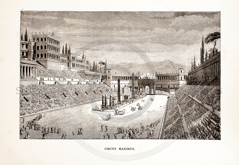 Vintage 1800s Sepia Illustration of Circus Maximus - A PICTORIAL HISTORY OF THE WORLD'S GREATEST NATION by Charlotte Yonge.