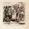 Vintage 1800s Color Illustration of Native Americans Meeting Pilgrims - INDIAN RACES OF NORTH & SOUTH AMERICA by Brownwell.