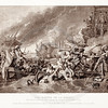 Vintage 1800s Sepia Illustration of the Battle of La Hogue - PICTURES & ROYAL PORTRAITS by Thomas Archer.  The natural patina, age-toning, imperfections, and old paper antiquing of this vintage 19th century illustration are preserved in this image.