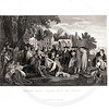 Vintage 1800s Black & White Illustration of William Penn's Treaty with the Indians - A PICTORIAL HISTORY OF THE WORLD'S GREATEST NATION by Charlotte Yonge.