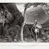Vintage 1800s Steel Engraving Illustration of a Knight Walking from BUNYAN'S PILGRIM'S PROGRESS by John Bunyan.  The natural patina, age-toning, imperfections, and old paper antiquing of this vintage 19th century illustration are preserved in this image.