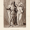 Vintage 1800s Sepia Illustration of Siegfried and Chrimhild - THE LIBRARY OF CHOICE LITERATURE by A. Spofford.
