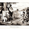 Vintage 1800s Sepia Illustration of Puppet Players - A PICTORIAL HISTORY OF THE WORLD'S GREATEST NATION by Charlotte Yonge.